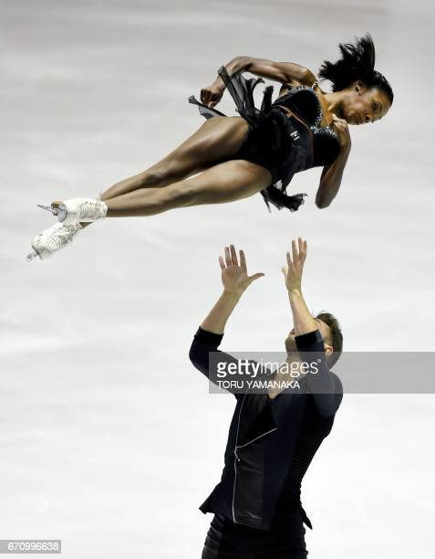 French pair Vanessa James and Morgan Cipres perform during the short program of the pairs event in the World Team Trophy figure skating competition...