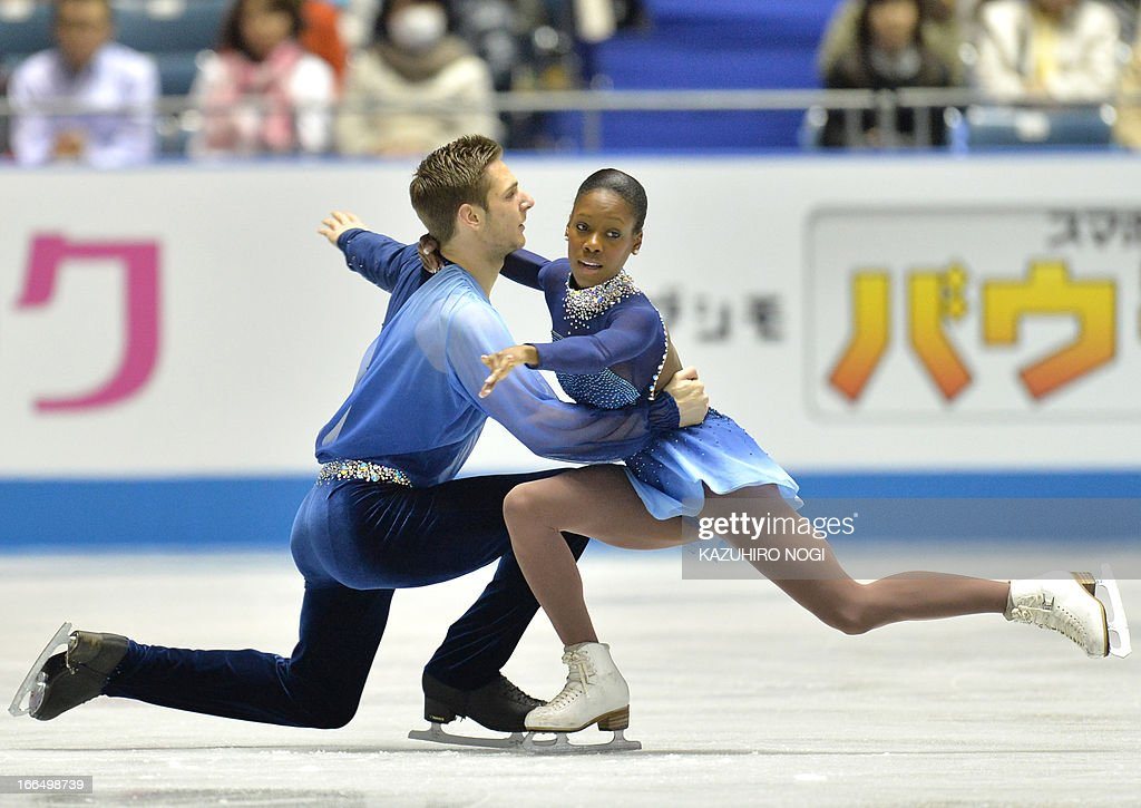 French pair, Vanessa James (R) and Morgan Cipres perform in the pairs free skating at the World Team Trophy figure skating competition in Tokyo on April 13, 2013.