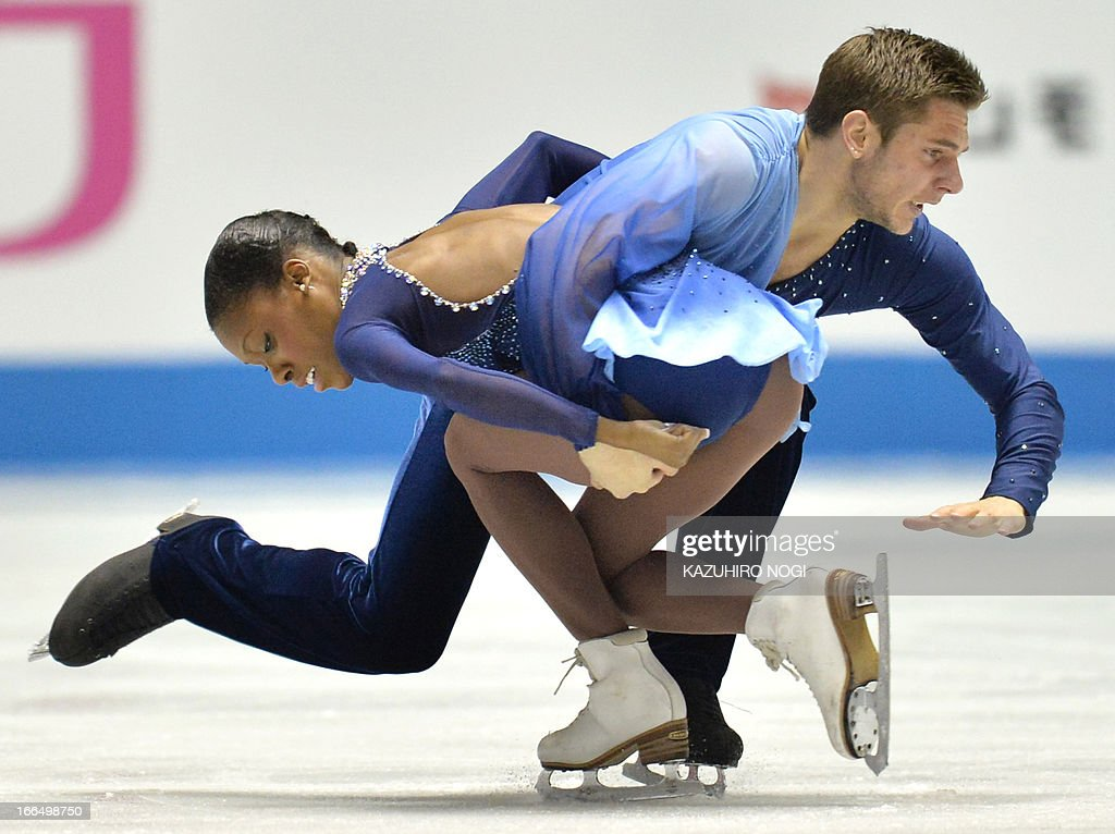 French pair, Vanessa James (L) and Morgan Cipres perform in the pairs free skating at the World Team Trophy figure skating competition in Tokyo on April 13, 2013.