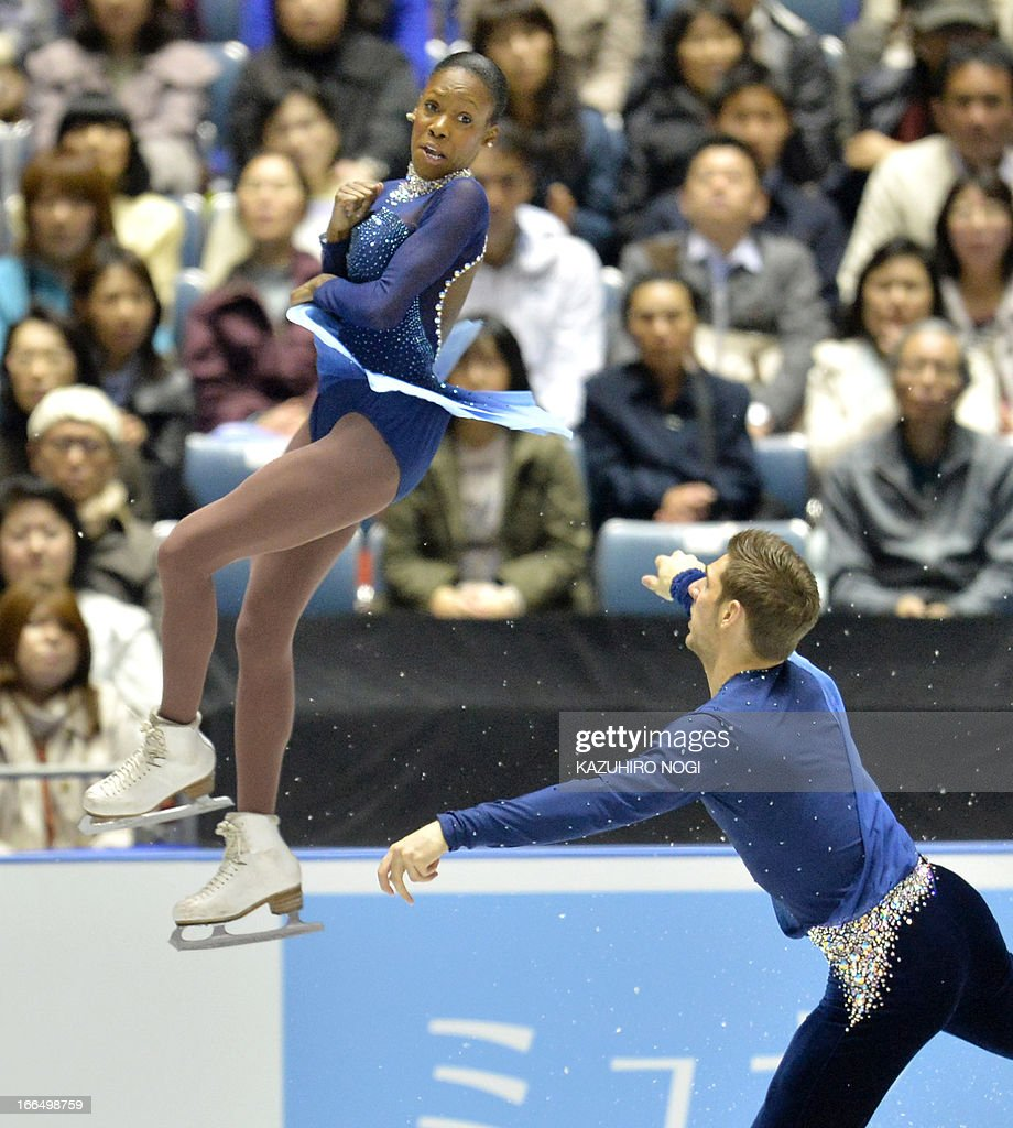 French pair, Vanessa James (L) and Morgan Cipres perform in the pairs free skating at the World Team Trophy figure skating competition in Tokyo on April 13, 2013. AFP PHOTO / KAZUHIRO NOGI