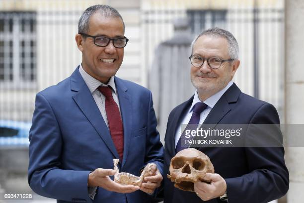 French paleoanthropologist JeanJacques Hublin and Abdelouahed BenNcer of the National Institute of Archaeology and Heritage Sciences in Morocco pose...