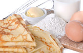 homemade french pancakes with eggs, flour, butter and milk