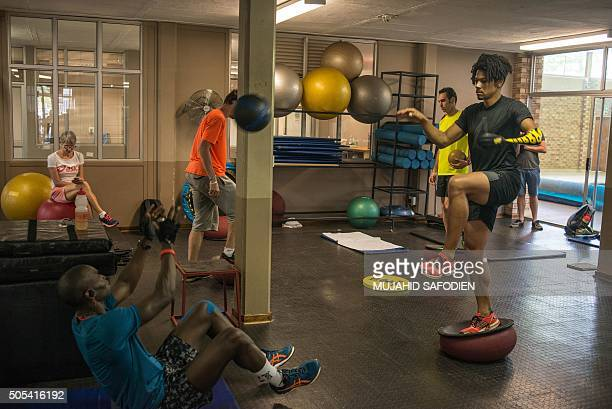 French paralympian Arnaud Assoumani takes part in a training session at the Potchefstroom University training facility in Potchefstroom on January 14...