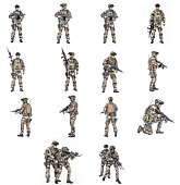 Set of Paratroopers of french 1st Marine Infantry Parachute Regiment RPIMA studio shot