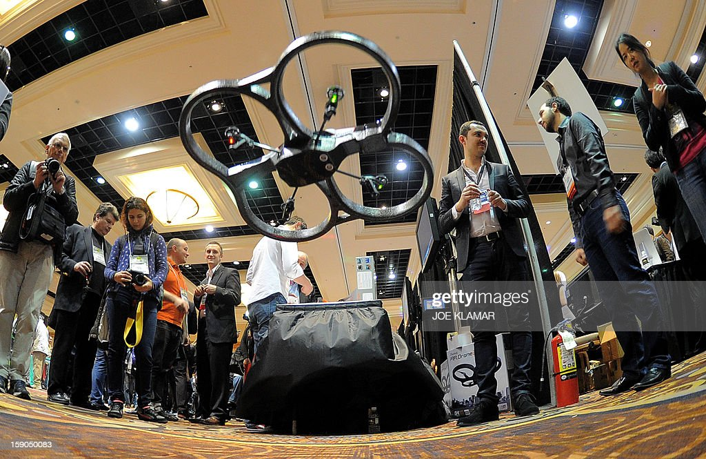 French Parrot introduces their automatic 4 rottor flying drones during the opening event ''CES Unveiled'' during the International Consumer Electronics Show (CES) in Mandalay Bay Hotel resort on January 06, 2013 in Las Vegas, Nevada.