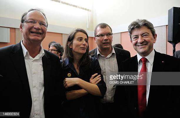 French Parti de Gauche leader JeanLuc Melenchon poses next to Philippe Kemel the Socialist Party candidate for the June 2012 French parliamentary...