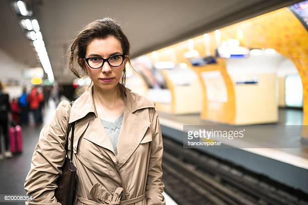 french passenger inside the paris metro waiting the train