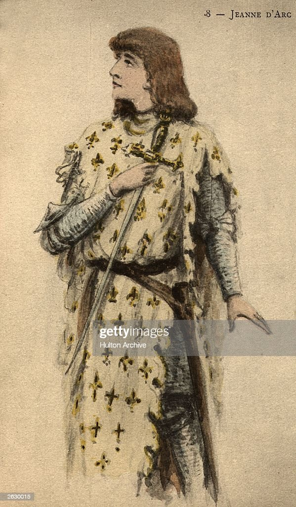 French patriot and martyr Joan of Arc (1412 - 1431), circa 1430. She drove the English from Orleans in 1429, causing the Dauphin's coronation in the same year. Captured and executed on suspicion of witchcraft, Joan of Arc (Jeanne D'Arc was posthumously proclaimed innocent in 1456. Original Publication: People Disc - HF0741