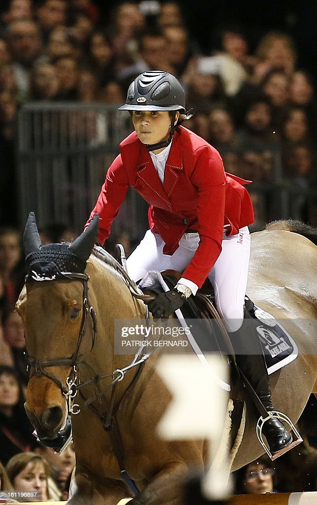 French Penelope Leprevost rides Nayana to take the third place of the Bordeaux Jumping International, the 11th stage of the FEI World Cup, on February 9, 2013 in Bordeaux.