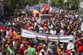 French people demonstrate on March 5 2009 in SaintDenis de la Reunion on the French island of Reunion to voice complaints similar to those of their...