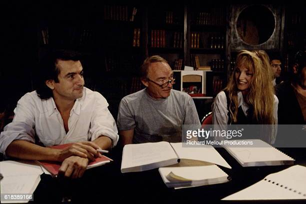 French philosopher and writer BernardHenri Levy and actors Pierre Vaneck and Arielle Dombasle rehearse the play Le Jugement Dernier directed by Jean...
