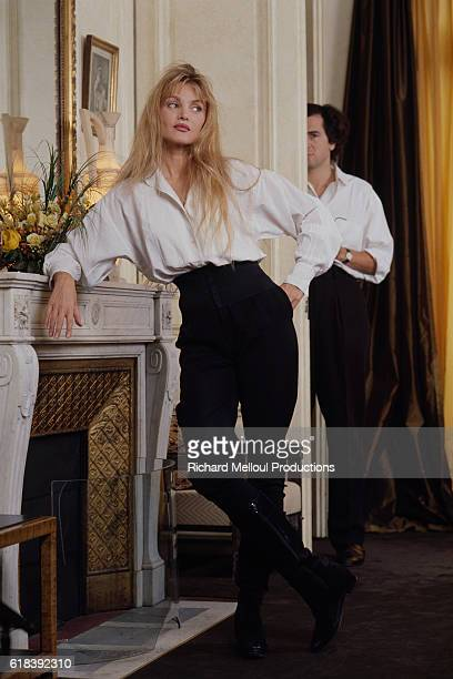 French philosopher BernardHenri Levy and FrenchAmerican actress and singer Arielle Dombasle at home