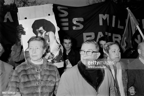 French philosopher JeanPaul Sartre and French writer Simone de Beauvoir are pictured on February 28 in Paris during a commemoration ceremony to mark...