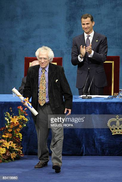 French philosopher Tzvetan Todorov receives the Prince of Asturias Award Laureate for Social Sciences from Spain's Prince Felipe during a ceremony at...