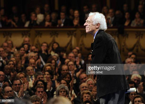 French philosopher Tzvetan Todorov smiles at the audience after receiving the Prince of Asturias Award Laureate for Social Sciences from Spain's...