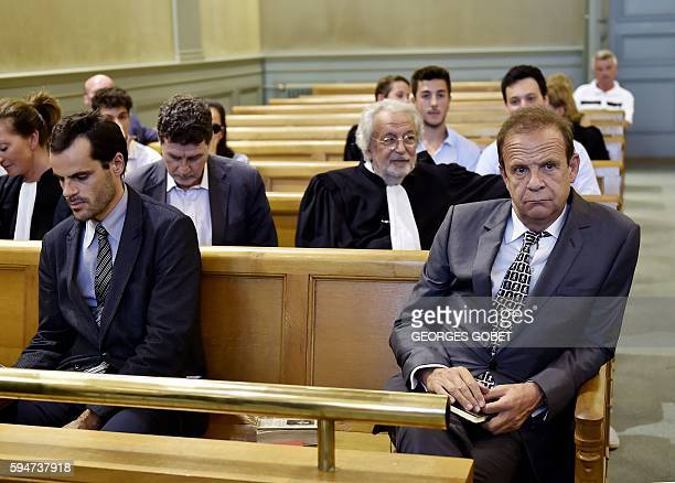 French photographer FrancoisMarie Banier and his companion Martin d'Orgeval sit at the Appeal court of Bordeaux southwestern France on August 24 2016...