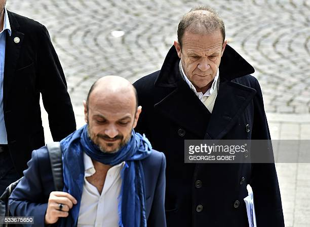 French photographer FrancoisMarie Banier and Richard Malka lawyer of Banier's companion arrive at the courthouse of Bordeaux southwestern France on...