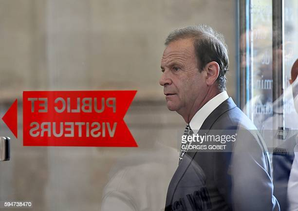 French photographer FrancoisMarie Banier arrives at the Appeal court of Bordeaux southwestern France on August 24 2016 in the appeal trial for...