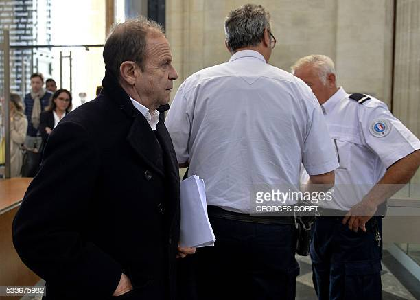 French photographer FrancoisMarie Banier arrives at the courthouse of Bordeaux southwestern France on May 23 during his and three others' appeal...