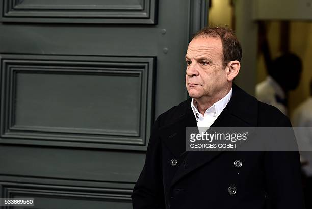 French photographer FrancoisMarie Banier leaves the Bordeaux's courthouse on May 23 2016 after morning hearings during his appeal trial for allegedly...