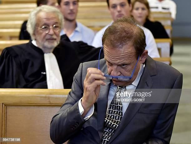 French photographer FrancoisMarie Banier sits at the Appeal court of Bordeaux southwestern France on August 24 2016 in the appeal trial for alleged...