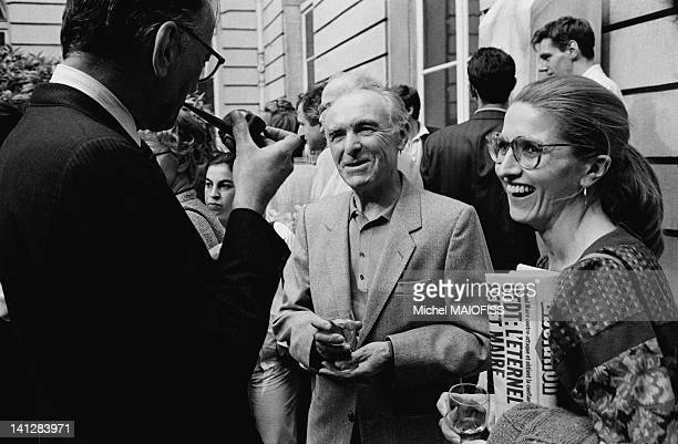 French photographer Robert Doisneau and his daughter Francine Deroudille at Atget conference at the Institut de France in June 1985 in Paris France