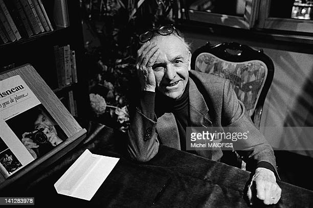 French photographer Robert Doisneau's booksigning at the Librairie Cassandre for his book 'Mes gens de plume' on January 9 1993 in Versailles France