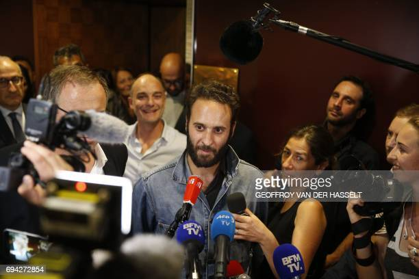 French photojournalist Mathias Depardon addresses the media after landing from Istanbul at RoissyCharlesdeGaulle aiport north of Paris on June 9 2017...