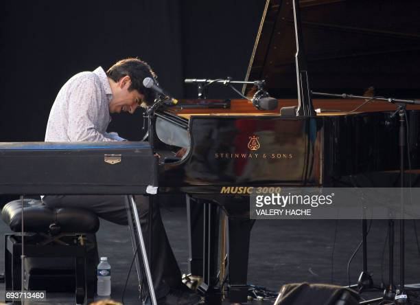 French pianist Dominique Fillon performs on the stage of the Nice's Jazz Festival on July 10 2011 in Nice southeastern France AFP PHOTO VALERY HACHE...