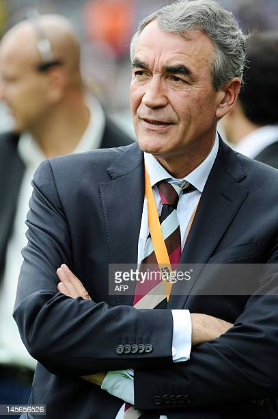 French PierreYves Revol the chairman of the Ligue nationale de Rugby looks at the player during the French Top 14 rugby union semifinal match vs...