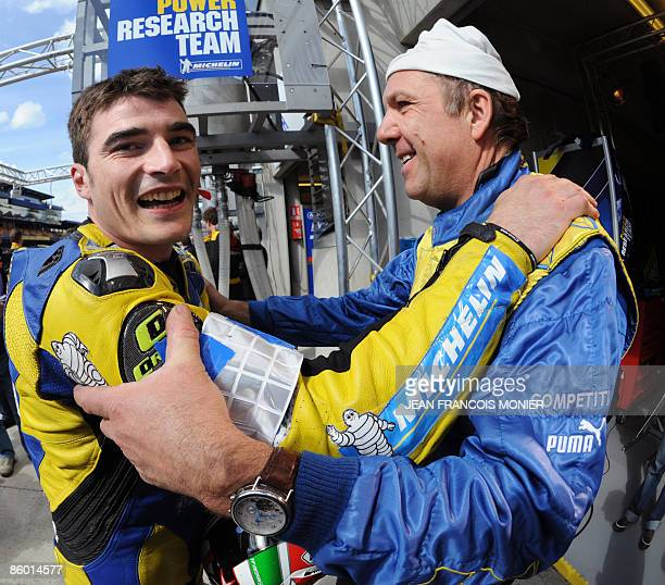 French pilote Hugo Marchand celebrates his third time at the Super Pole after the Le Mans 24 Heures endurance race Super Pole session on April 17...