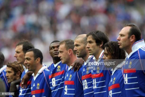 French player Alain Boghossian Bernard Diomede Robert Pires Zinedine Zidane Stephane Guivarc'h Marcel Dessailly Youri Djorkaeff Laurent Blanc and...