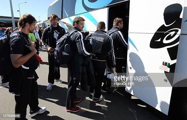 French player Cedric Heymans Julien Pierre Vincent Clerc gets on a bus upon arrival in Wellington on September 29 during the 2011 Rugby World Cup AFP...