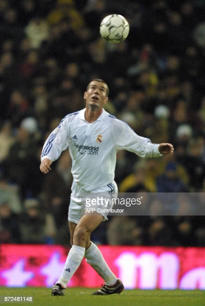 French player of Real Madrid Zinedine Zidane attempts to control the ball during the first division soccer match in Madrid 15 December 2001 between...