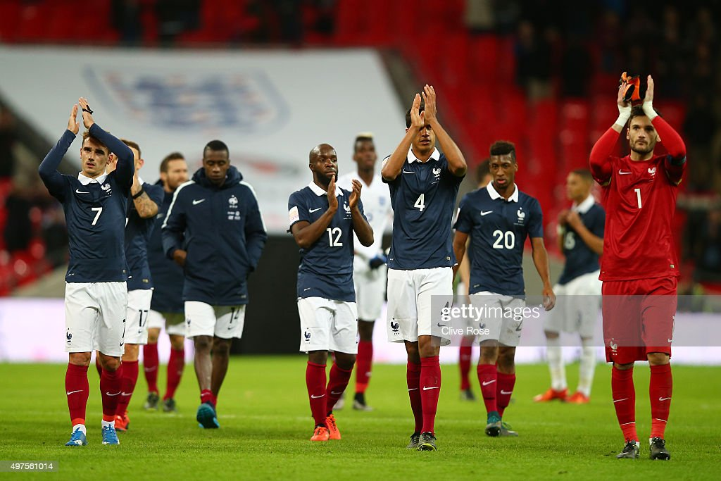 French players applauds after the International Friendly match between England and France at Wembley Stadium on November 17, 2015 in London, England.