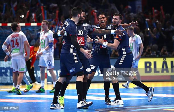 French players celebrate victory during the 25th IHF Men's World Championship 2017 Final between France and Norway at Accorhotels Arena on January 29...