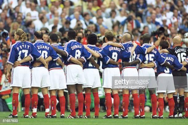 French players Emmanuel Petit Zinedine Zidane Youri Djorkaeff Marcel Desailly Christian Karembeu Stephane Guivarc'h Frank Leboeuf Lilian Thuram...
