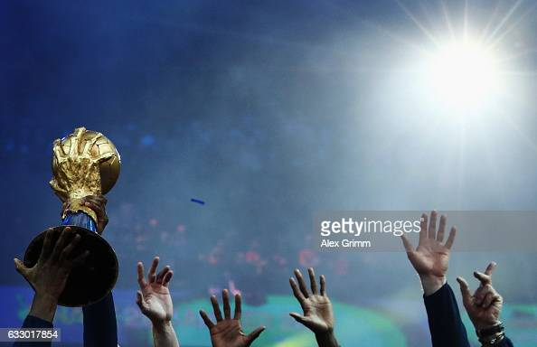 French players lift the trophy after victory during the 25th IHF Men's World Championship 2017 Final between France and Norway at Accorhotels Arena...