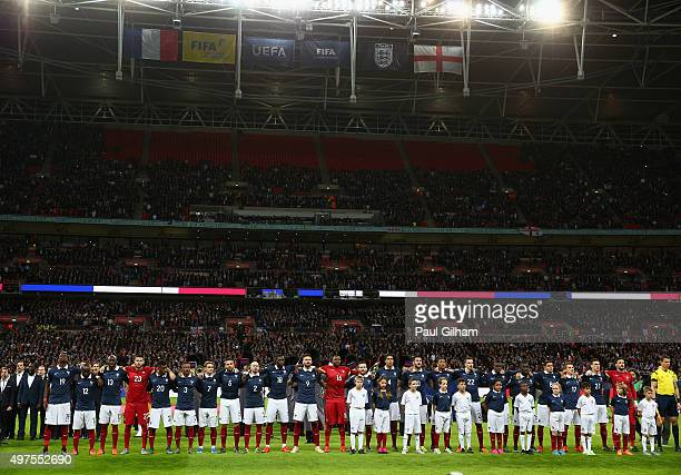 French players line up for the national anthem prior to the International Friendly match between England and France at Wembley Stadium on November 17...