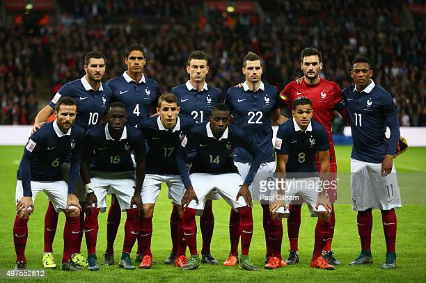 French players line up for the team photos during prior to the International Friendly match between England and France at Wembley Stadium on November...