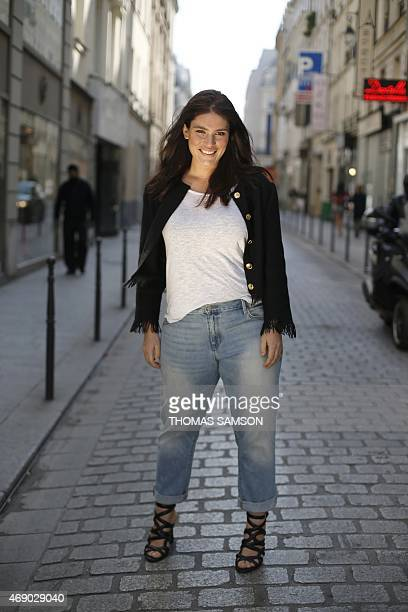 French plussize model Clementine Desseaux poses in Paris on April 9 2015 Clementine Desseaux is the patron of the third Pulp Fashion Week Paris a...