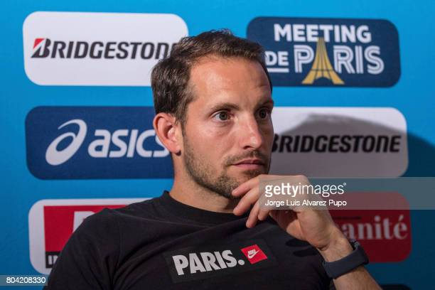 French pole vaulter Renaud Lavillenie of France talks during the Meeting of Paris press conference of the IAAF Diamond League 2017 at Mercure Hotel...