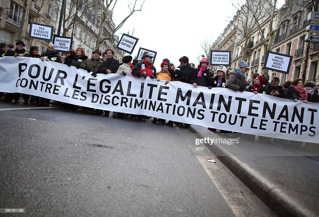 French polical leaders and representarives take part in a demonstration for the legalisation of gay marriage and LGBT (lesbian, gay, bisexual, and transgender) parenting, in Paris on January 27, 2013, two days before a parliamentary debate on the government's controversial marriage equality bill, which will allow gay couples the same rights as their straight counterparts. The banner reads : 'The representatives engage themselves for equality now and against discriminations all the time'. AFP PHOTO /THOMAS SAMSON