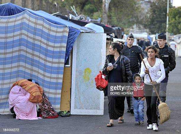French police evacuate a Roma camp on September 27 in Font Vert a district of Marseille south of France Some 200 Romanian Roma Families lived in...