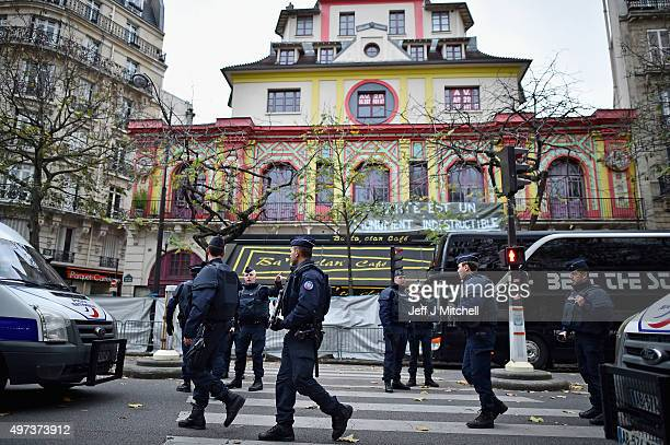 French police officers stand guard in front of the main entrance of Bataclan concert hall following Friday's terrorist attacks on November 16 2015 in...
