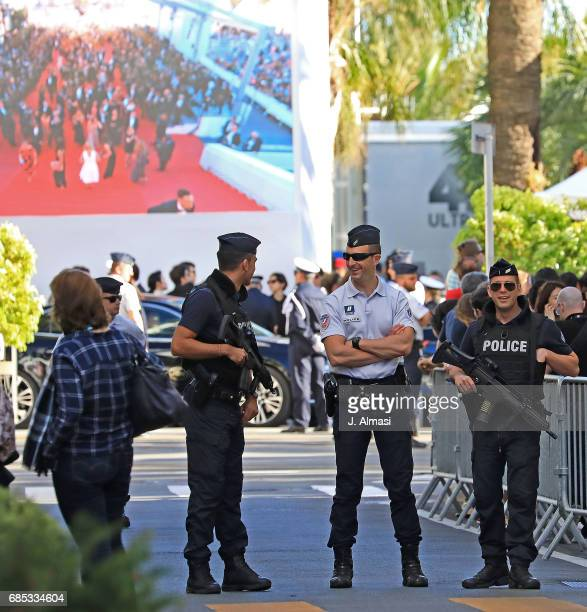 French police sniper spotted during the 70th annual Cannes Film Festival at on May 19 2017 in Cannes France
