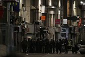 French Police special forces raid an appartment hunting those behind the attacks that claimed 129 lives in the French capital five days ago in the...