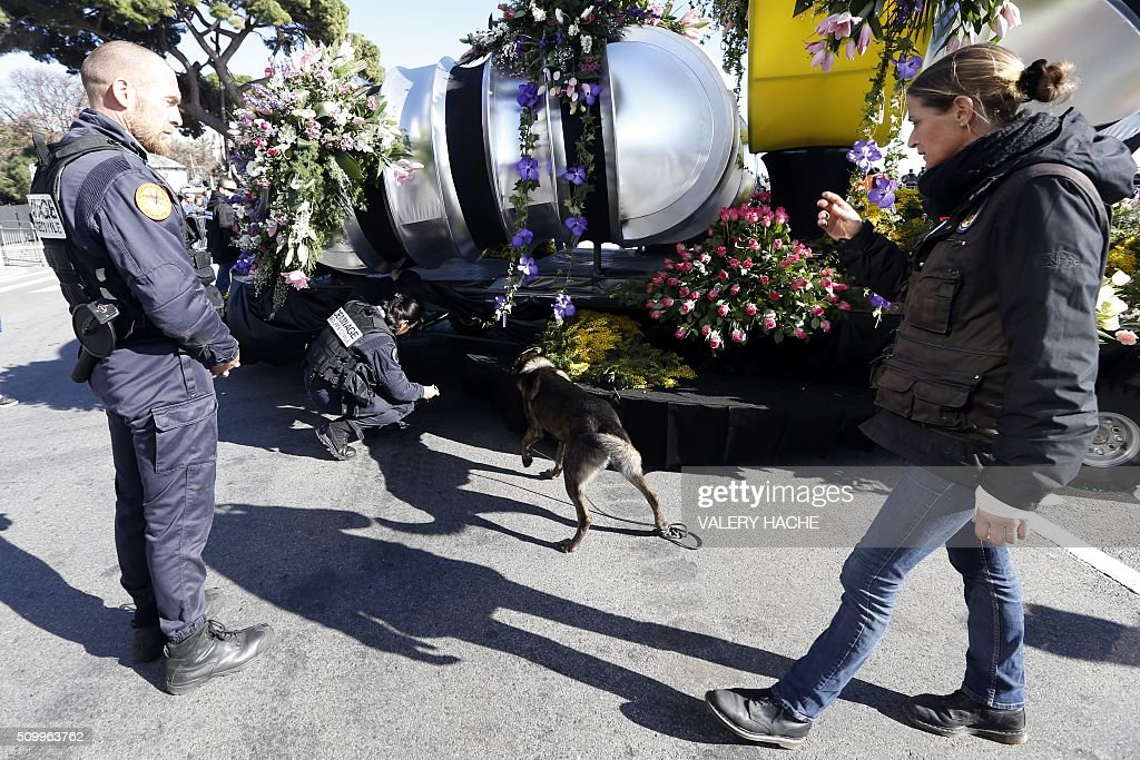 French police use sniffer dogs at the start of the 132nd Nice Carnival, on February 13, 2016. The carnival runs from February 13 until 28 February 2016, and this year celebrates 'King of Medias'. / AFP / VALERY HACHE