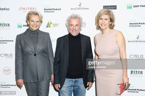 French Politic Michele Alliot Marie French Philosoph Frederic Lenoir and Albera Conseil President Patricia Chapelotte attend the 'Prix De La Femme...