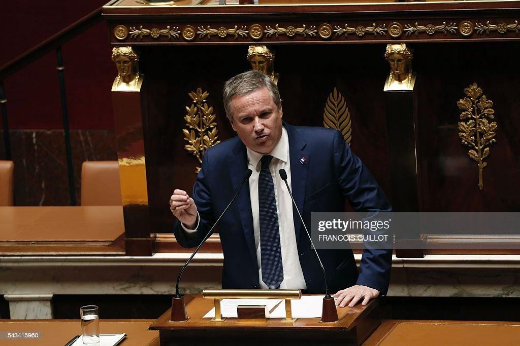 French political party Debout la France (DLF) President and Member of Parliament Nicolas Dupont-Aignan speaks during the post-Brexit debate on June 28, 2016 at the French National assembly in Paris. Paris stocks stot up more than three percent in afternoon trading on Tuesday, regaining a portion of their losses since Brexit, while investors kept a wary eye on an EU. / AFP / FRANCOIS